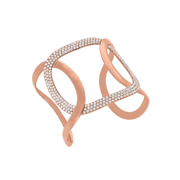 Large Oval Link Cuff Bracelet in Rose Gold with Diamonds.