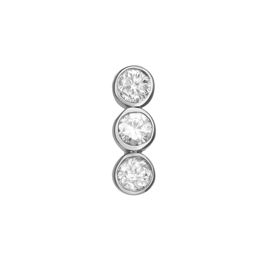 Bar Stud Earring in White Gold with Diamonds.