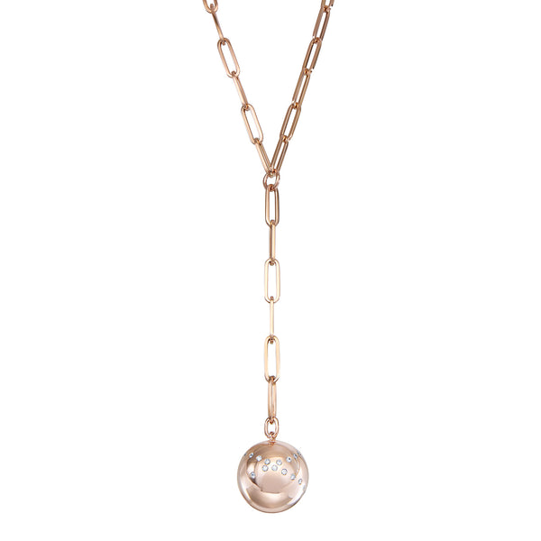 Rose Gold ball necklace on long chain with diamond pavé
