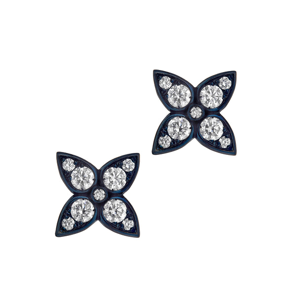 Tiramisu Clover Stud Earrings in White Gold with Black Rhodium and Diamonds.