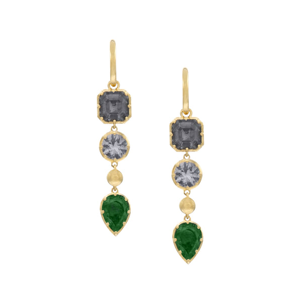 Drop Earrings in Yellow Gold with three Gems of Grey Spinel and Green Tourmaline.