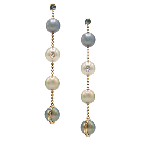 Line Earrings in Yellow Gold with Grey Sapphires, Diamonds and Pearls.