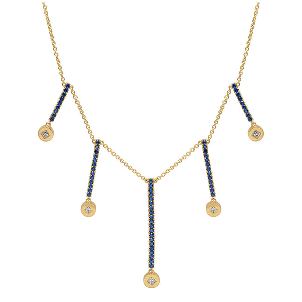 Multi Bar Necklace in Yellow Gold with bars of Blue Sapphire and Diamond encrusted pendants.