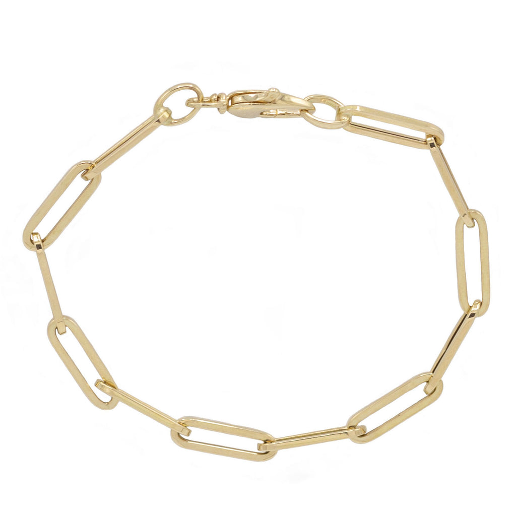 Signature Link Chain Bracelet in Yellow Gold.