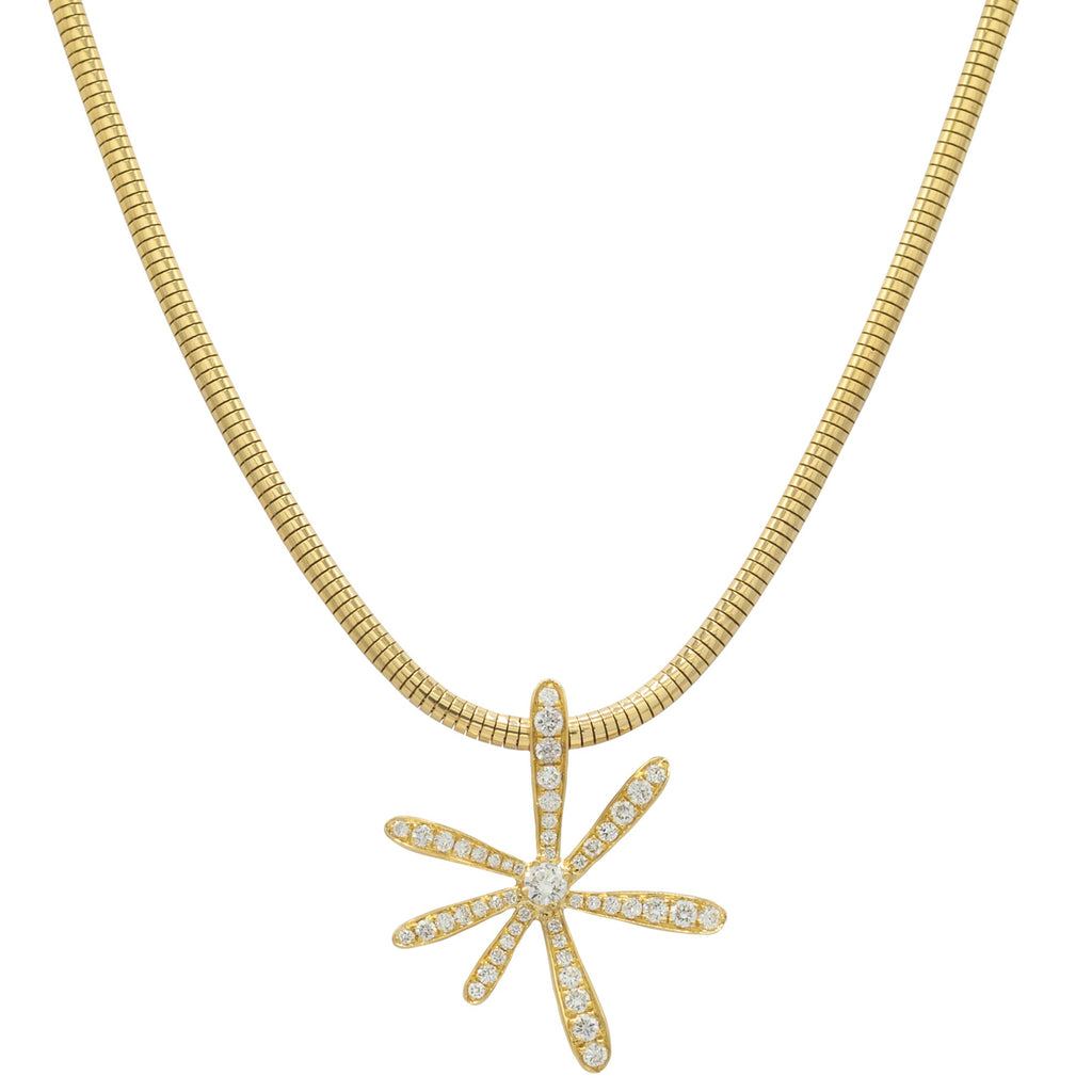 yellow gold and diamond flower necklace on yellow gold chain