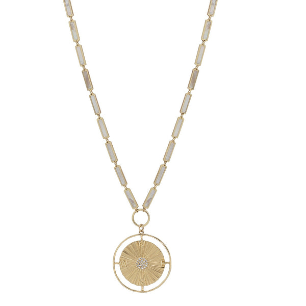 Mother of Pearl chain necklace in Yellow Gold with a compass chain featuring diamonds in the center of the charm.