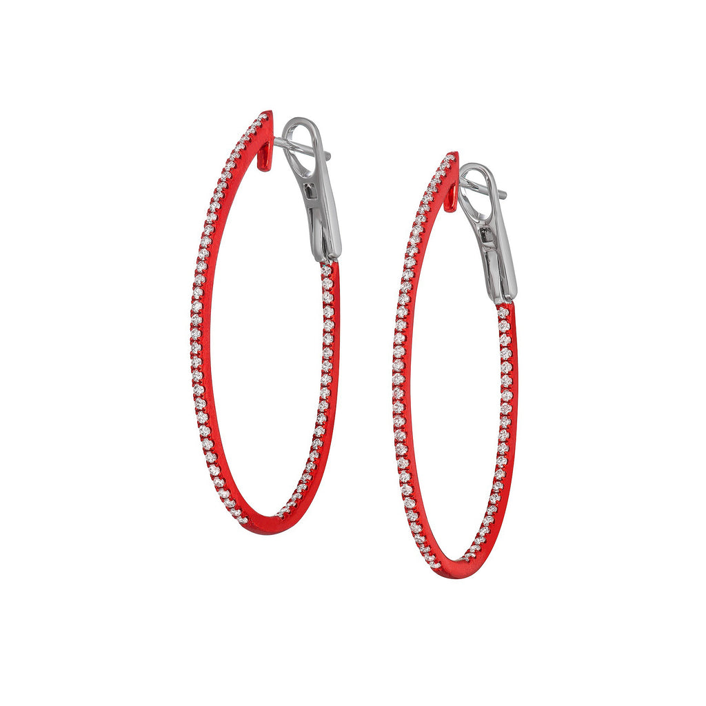 Orin Oval Hoop Earrings in White Gold With Red Rhodium and Diamonds.
