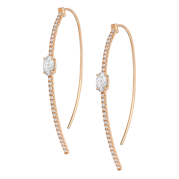 Arc Hoop Earrings in Rose Gold with Diamonds down the entire Arc with one Diamond in the center of each ring.