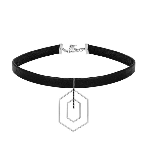Choker Necklace with Hexagon in White Gold featuring Black Diamonds.