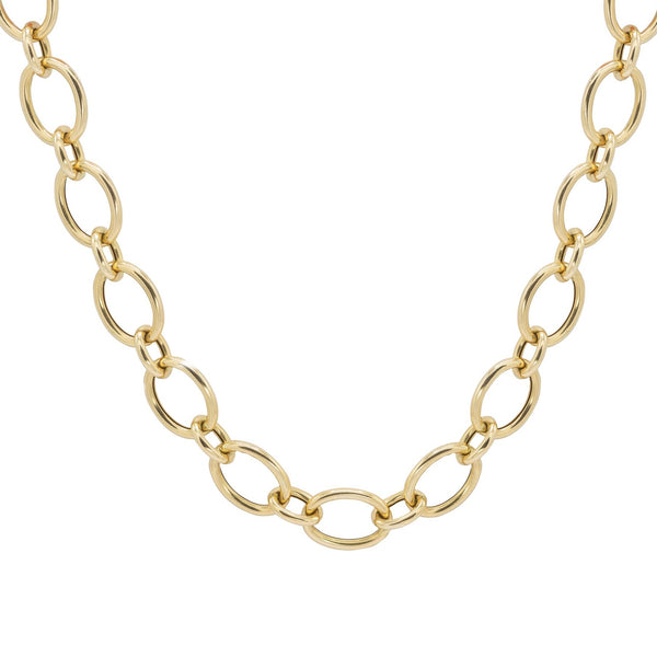 yellow gold round link chain necklace