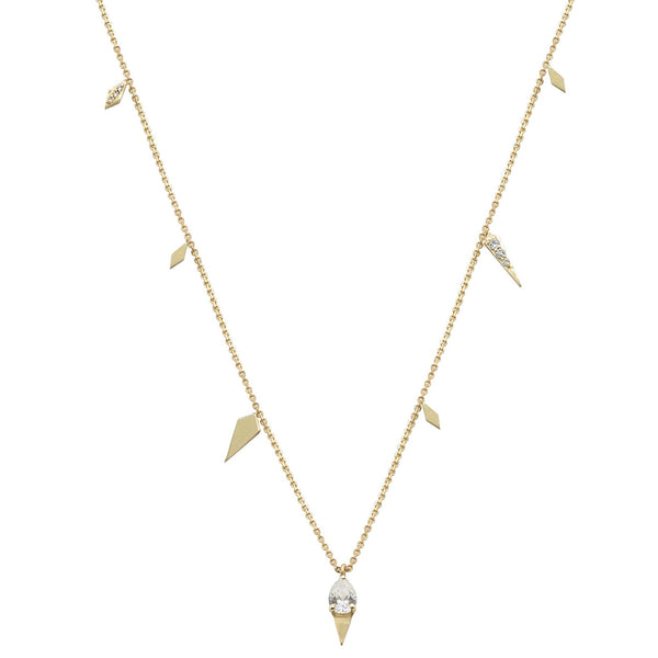 yellow gold necklace with pear diamond pendant