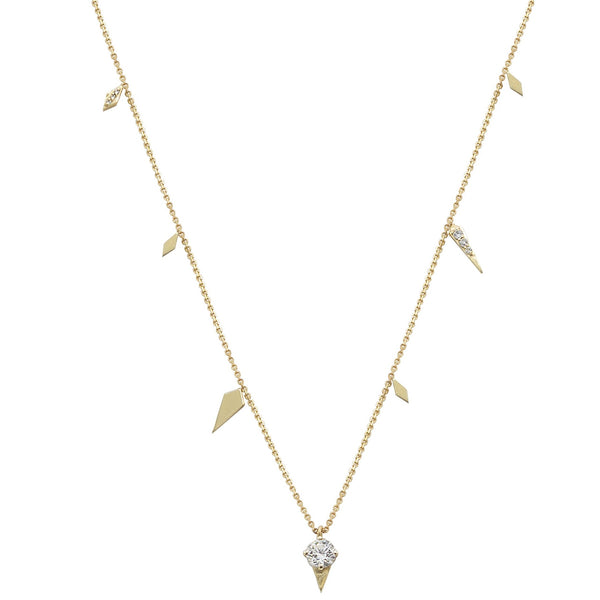 yellow gold necklace with round diamond