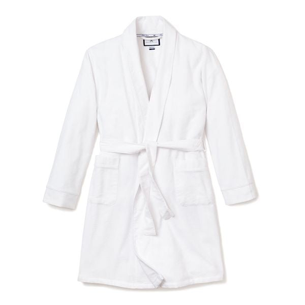 Men's White Flannel Robe with White Piping