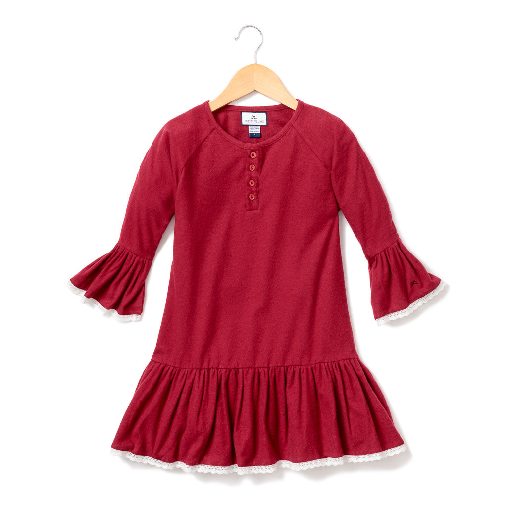 Arabella style Nightgown in Red Garnet
