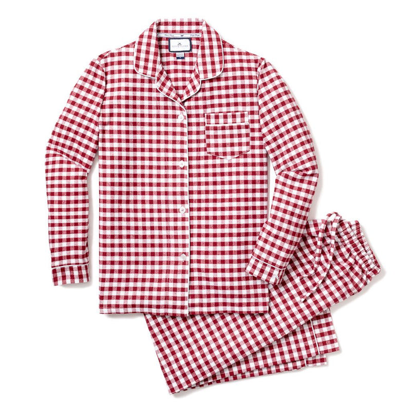 Burgundy Gingham Classic Flannel Pajamas