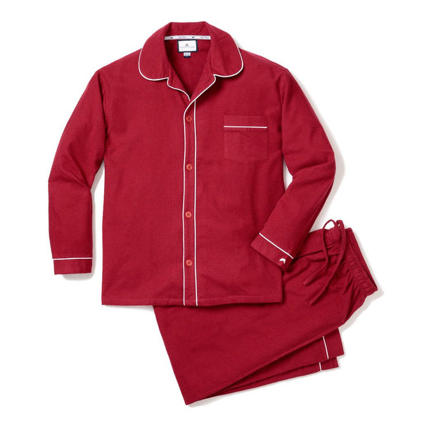 Burgundy Flannel Pajamas with White Double Piping