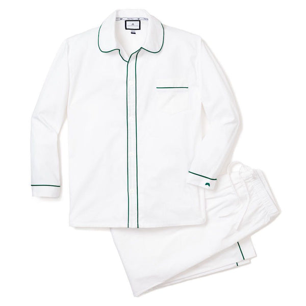 Men's Classic White Twill Pajamas with Green Double Piping