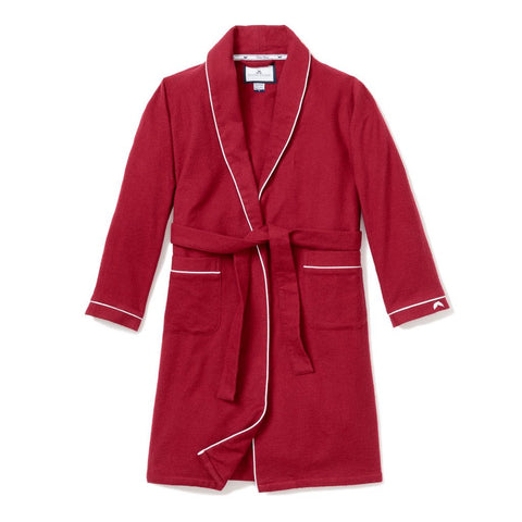 Red Garnet Flannel Robe with White Piping