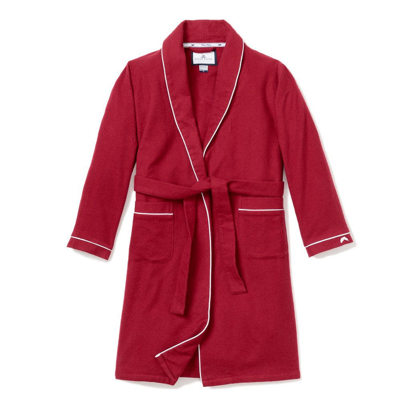 Women's Red Garnet Flannel Robe with White Piping