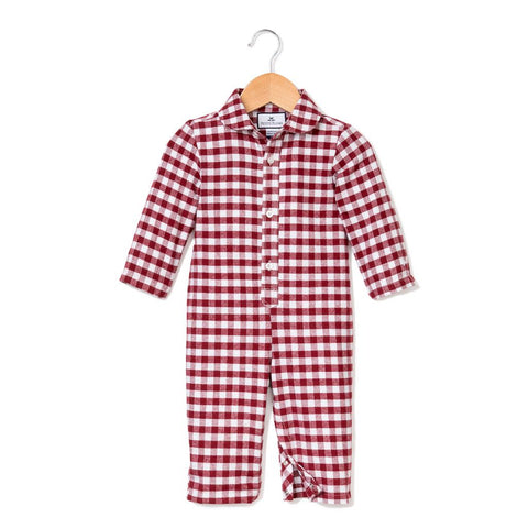 Red Garnet Gingham Flannel Romper