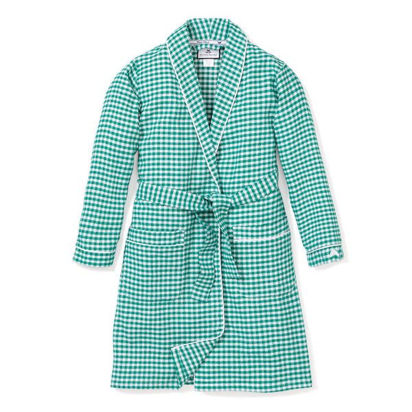 Men's Green Gingham Flannel Robe