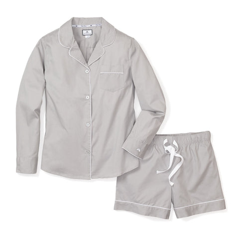 Long Sleeve Short Set in Grey Twill