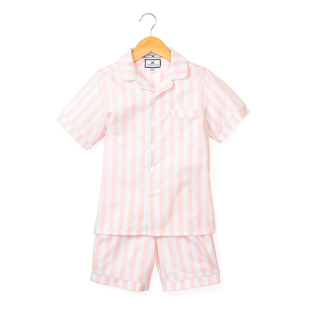 Coral Modern Striped Classic Short Set