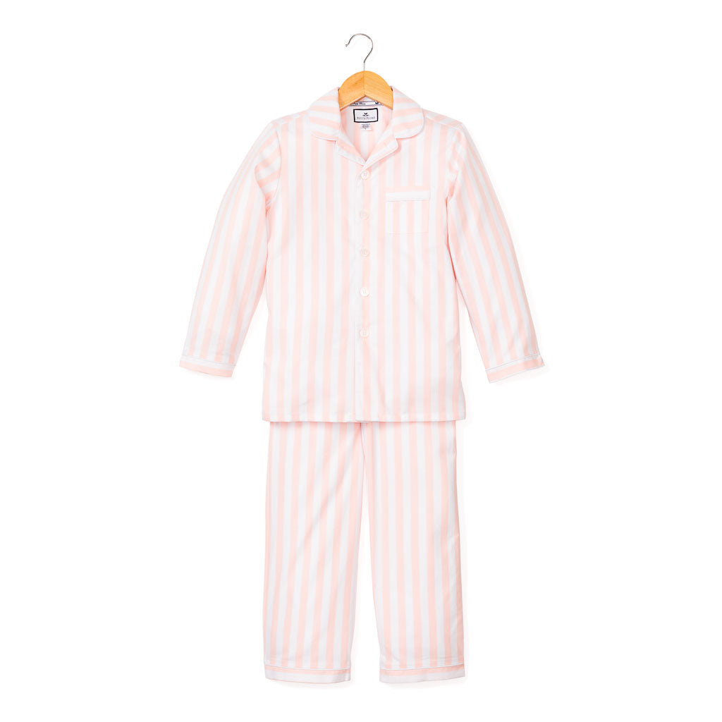 Coral Modern Striped Pajama Set