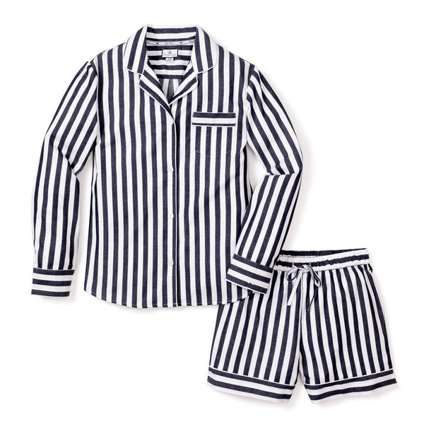 Women's Navy Modern Striped Long Sleeve Short Set