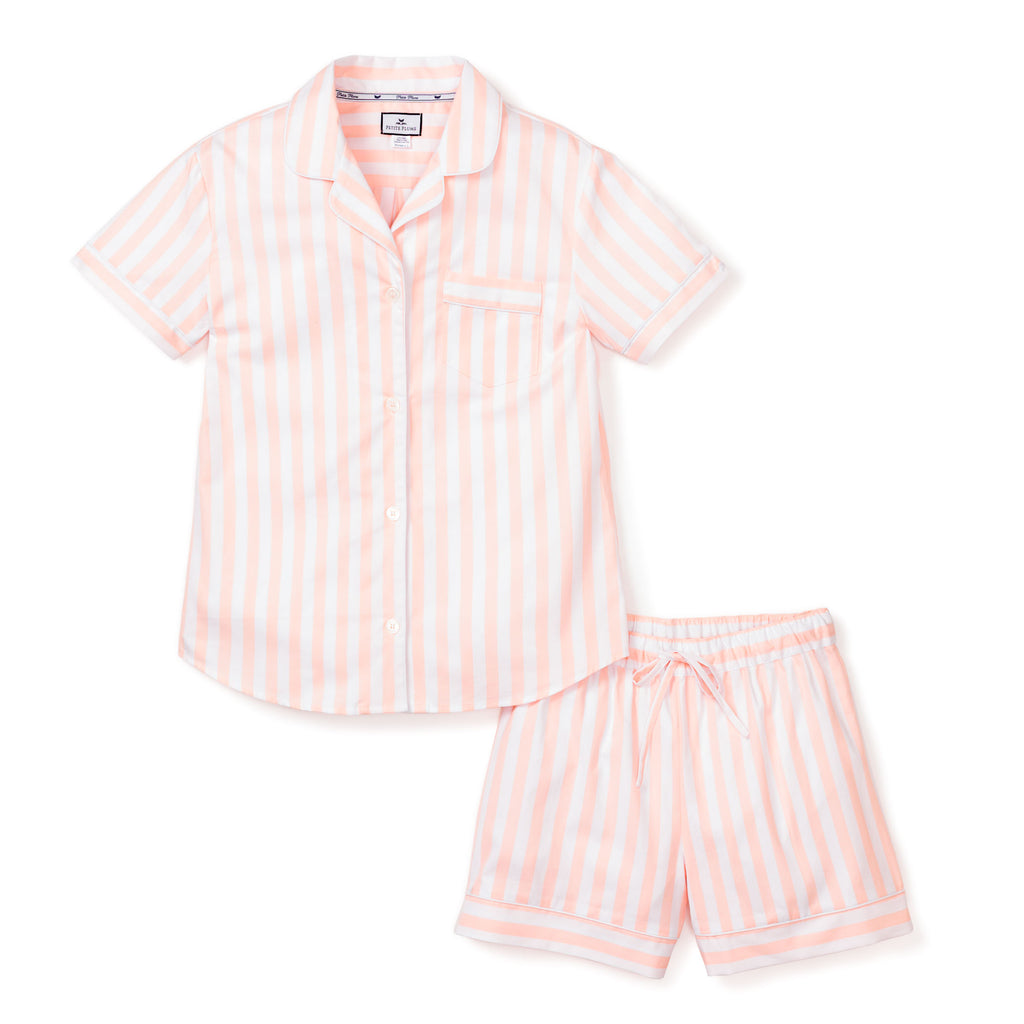 Women's Coral Modern Striped Classic Short Set