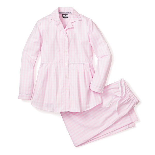 Women's Pink Gingham Maternity Pajama Set