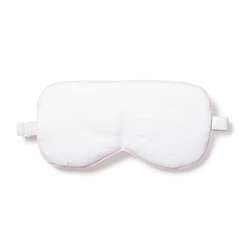 Women's White Traditional Eye Mask with Pink Piping
