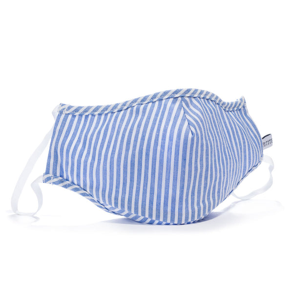 Children's French Blue Seersucker Face Mask