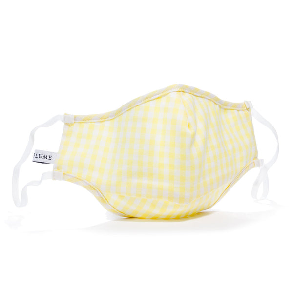 Adult Yellow Gingham Face Mask