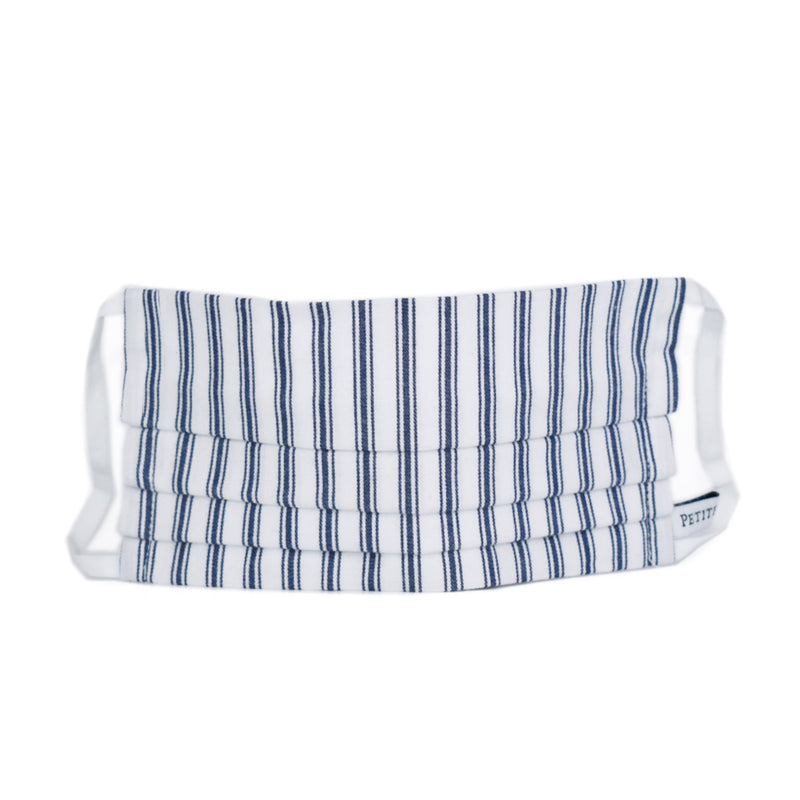 Accordion Face Mask Navy French Ticking
