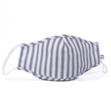 Navy French Ticking Face Mask