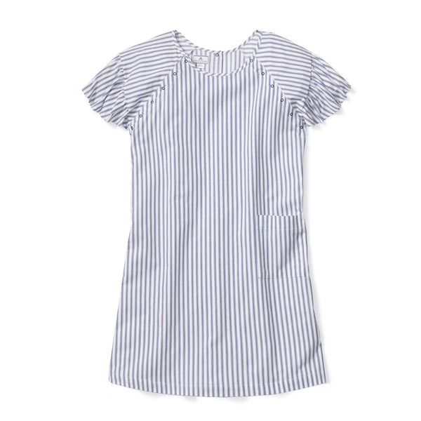 Women's Navy French Ticking Hospital Gown