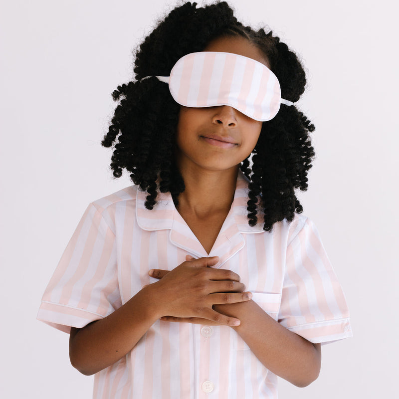 Children's Coral Modern Striped Traditional Eye Mask