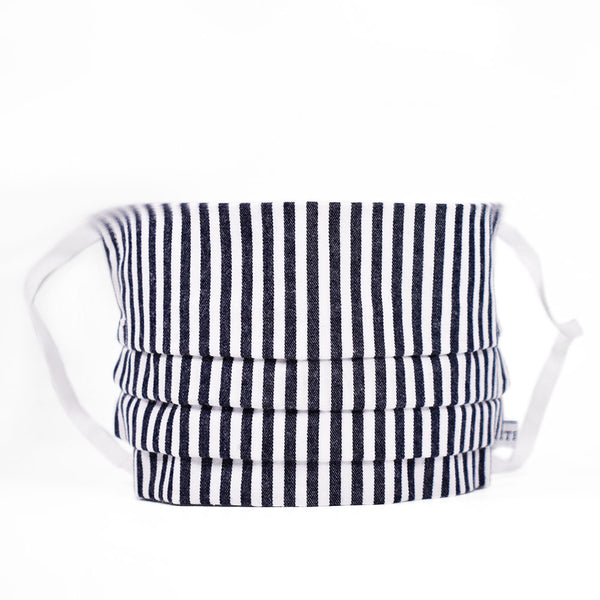 Adult Accordion Navy Bengal Striped Face Mask