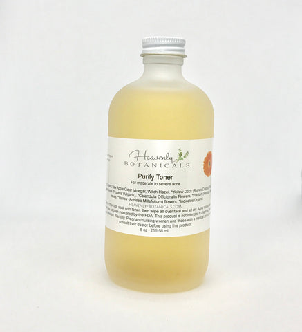 Purify toner, Witch hazel Toner, calendula, yellow dock, plantain, yarrow, acne toner, cystic acne toner, cystic acne skin care