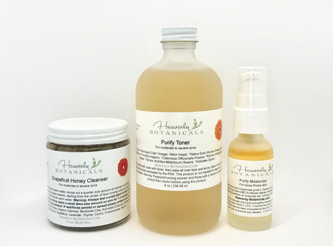 Organic Purify Skin care Program , Grapefruit honey cleanser, Hyaluronic acid serum, Turmeric, cystic acne toner, cystic acne skin care