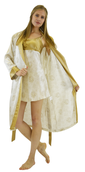 Silk Mid-length Robe and/or Slip - Imperial Gold print
