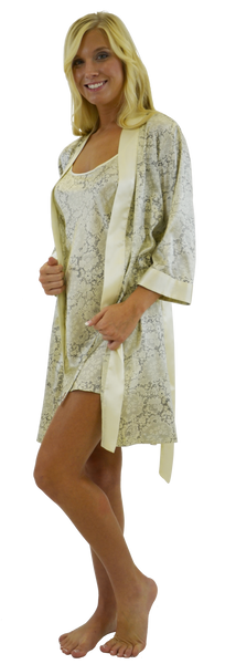 Silk Kimono Robe and/or Slip - Lace print