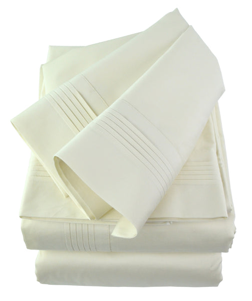 400 Thread Count Cotton Sateen Sheets Set Pintucked