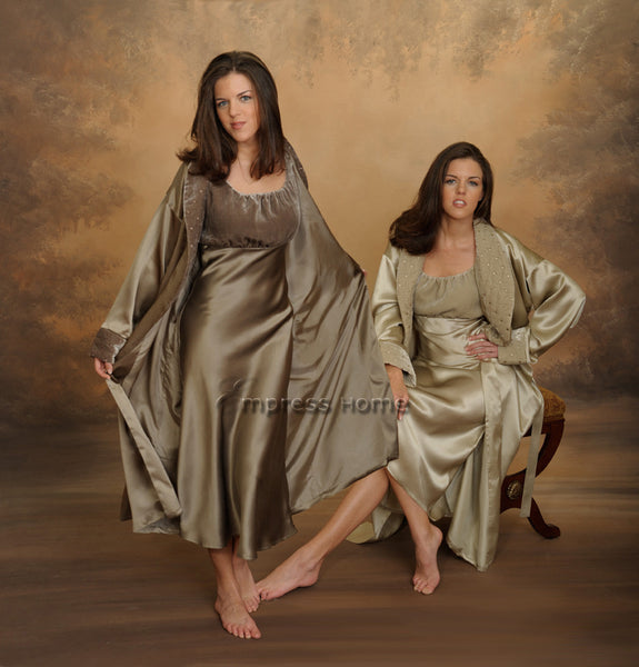 Pure Mulberry Silk Charmeuse Robe and Gown