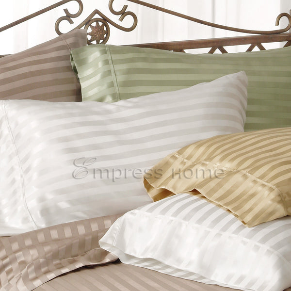 silk sheets in silk satin stripes