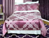 Silk & Cotton Blended Comforter Cover w/Shams - Jacquard Woven Design