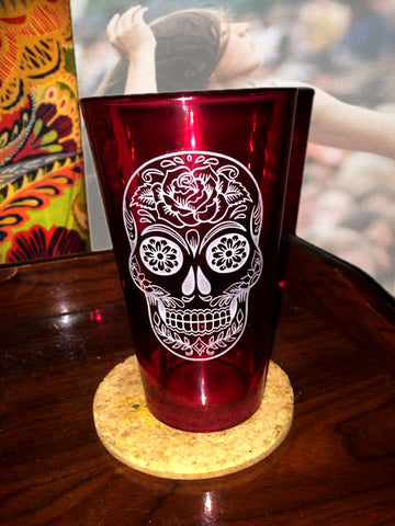 Sugar Skull Rose Glass ~ 16oz.