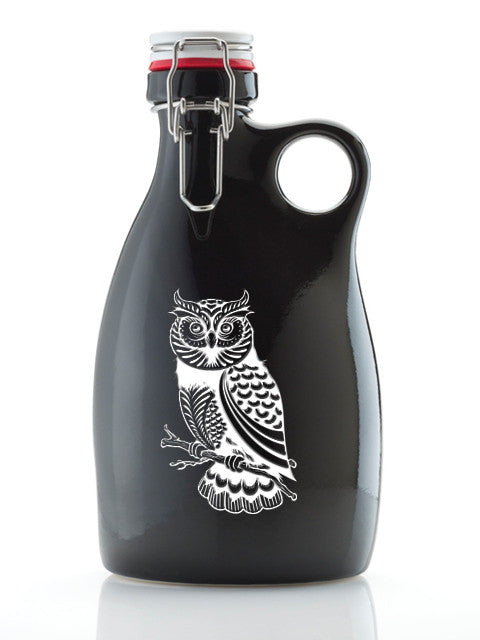 Owl Growler ~ 64oz. Stoneware Gloss Black