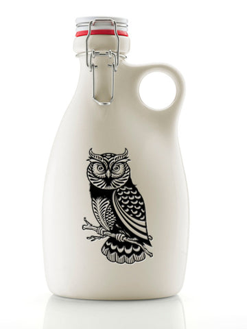 Owl Growler ~ 64oz. Stoneware Gloss White